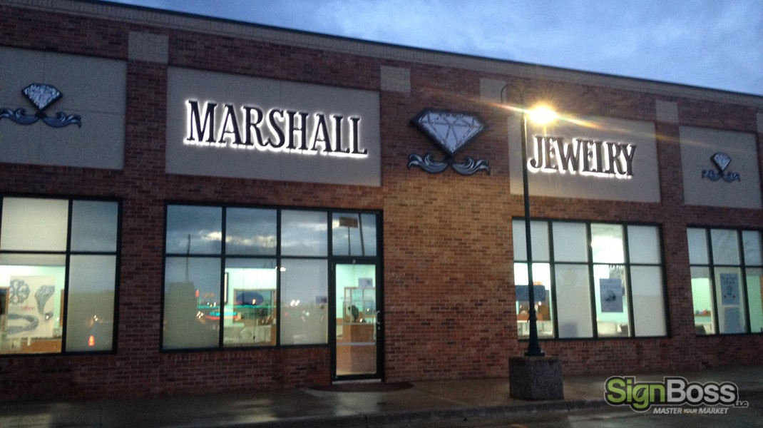 marshall jewelry building sign with sequins signboss