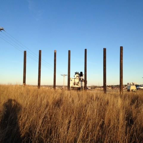 Setting poles for billboard in laurel mt