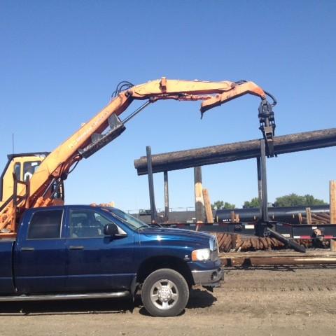 Setting up billboard poles in Laurel MT