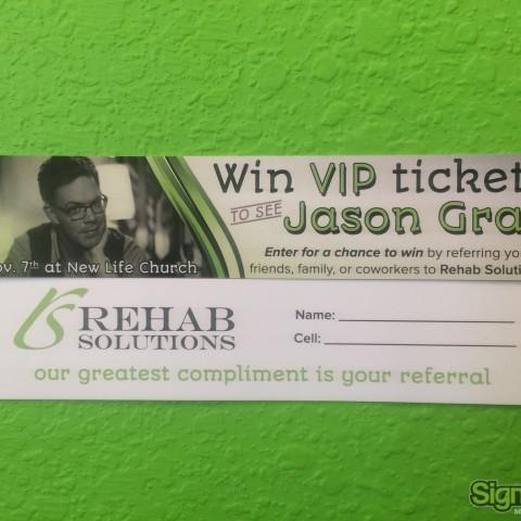 Rehab Solutions – Custom Raffle Tickets