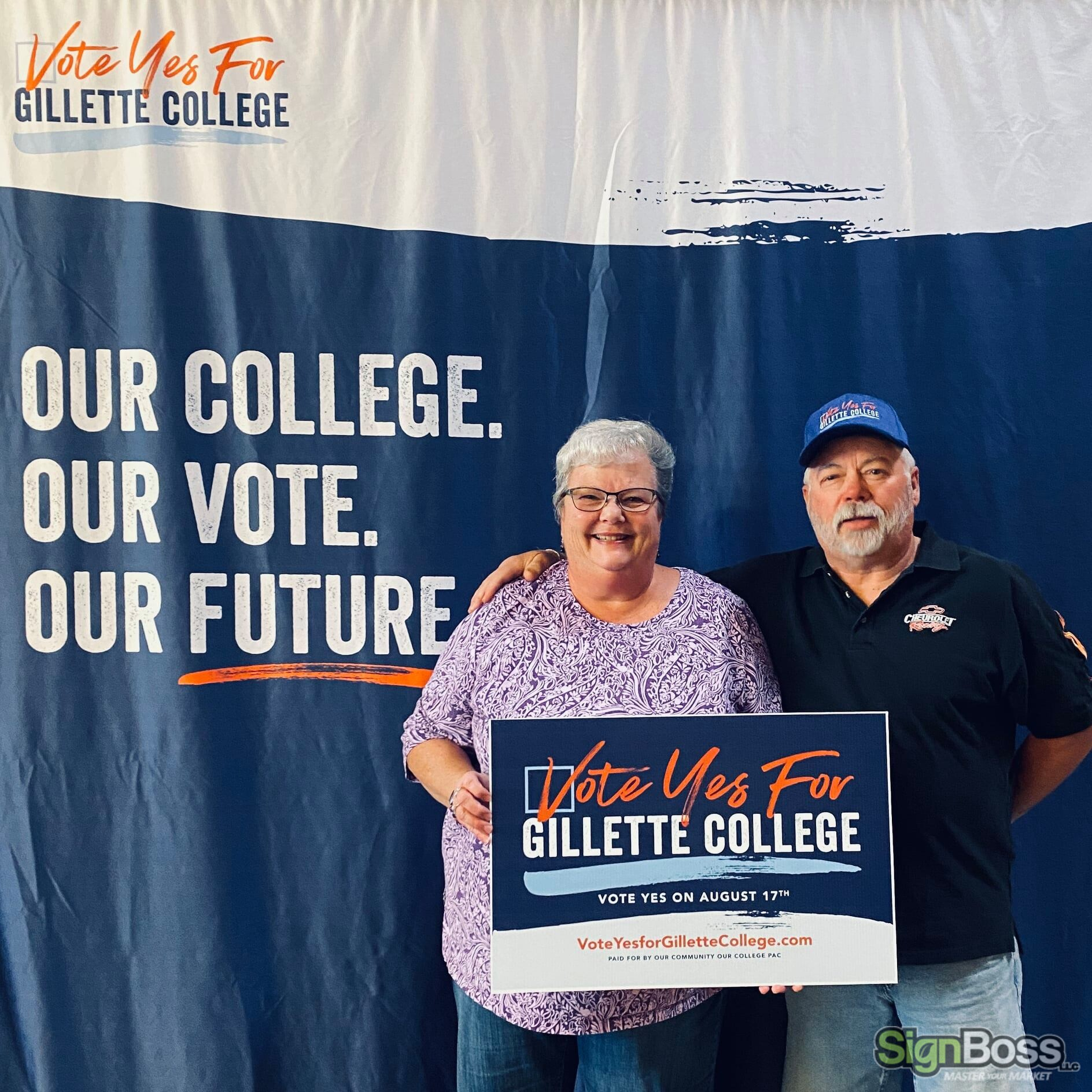 Signs and graphics for Vote Yes for Gillette College campaign