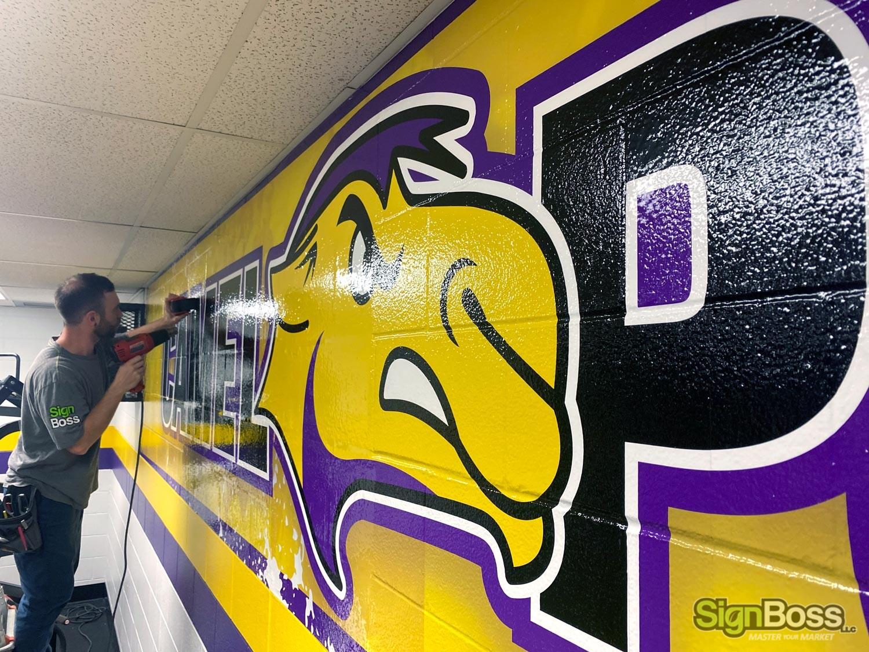 School Weight Room Wall Murals in Gillette WY